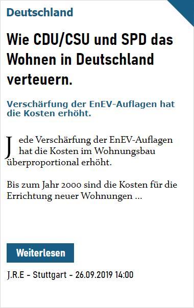 PZ Welt: Wie CDU/CSU und SPD das Wohnen in Deutschland verteuern.