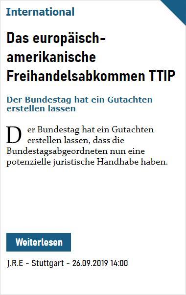 PZ Welt: Das europäisch-amerikanischen Freihandelsabkommen TTIP